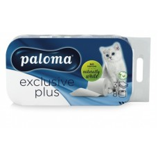 Toaletni papir Paloma Exclusive Plus  6 paketov po  8/1 - beli 48 rolic, 3 slojni
