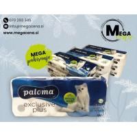 Toaletni papir Paloma Exclusive Plus 9 x  10/1 - beli  = 90 rolic!
